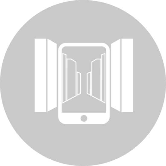 Symbol representing Augemented Reality with a mobile device